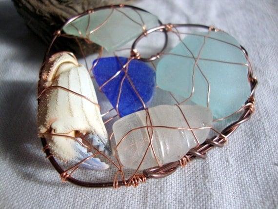 Seaglass and Crab Claw Wire Heart Ornament Suncatcher