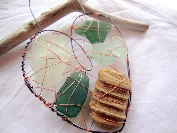 Driftwood and Seaglass Wire Heart Suncatcher