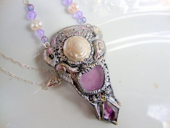 Violet Seaglass, Amethyst, and Shell Necklace
