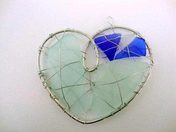 Blue Seaglass Heart Suncatcher Ornament