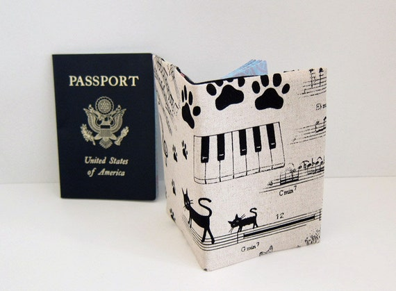 Sleek passport cover -- Cat and Music note -- Japanese Linen