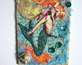Mermaid and Full Moon Original Altered Aceo Collage Art Card One of a Kind Art Nouveau