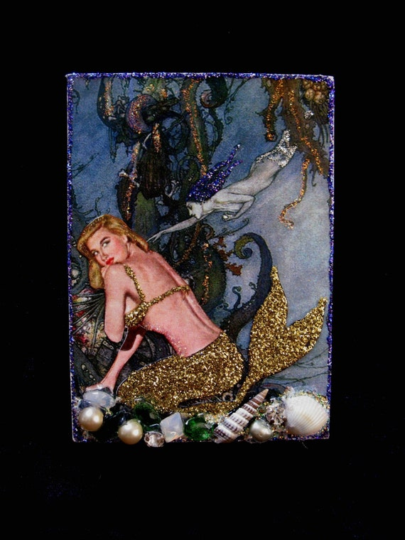 SALE Mermaid Original Altered Collage Aceo Art Card Vintage Jewels and Shells