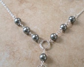 SALE ITEM Gun metal grey pearl necklace and earring set