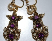 Vintage Amethyst and Pearls Earrings