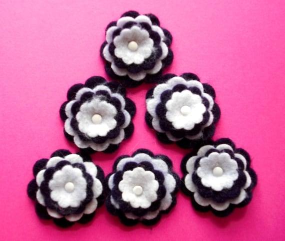 Felt Flower Embellishments, 6 Dark Purple and White, Scrapbooking