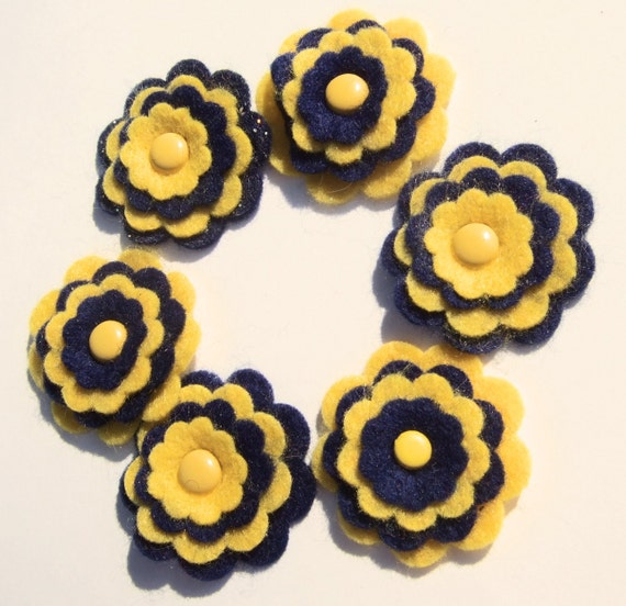 Die Cut Felt Flower Embellishments, Yellow and Navy Blue with Brads in Center