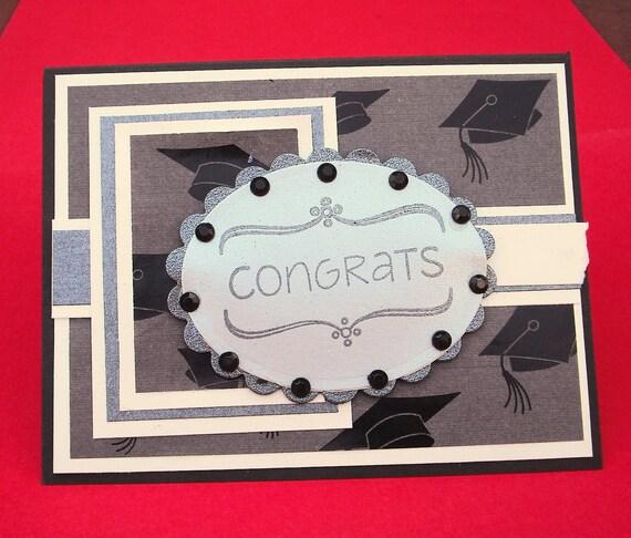 Graduation Card, Congrats, For College or High School Graduation, Black, Cream and Silver