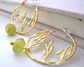 leaves branch metal  charm Jade Garden earrings