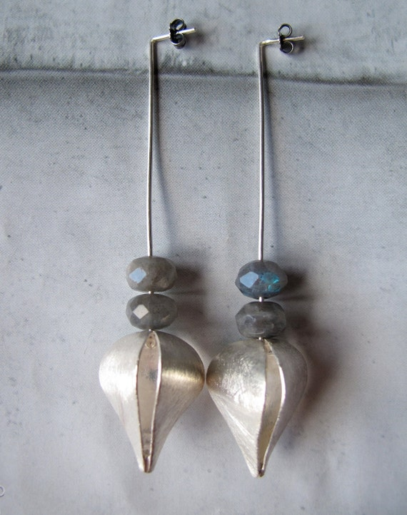 Minimalist Long sterling silver dangle earrings. Jewelry Stone. Natural Labradorite. Jewelry Sale Black Friday Etsy Cyber Monday Etsy