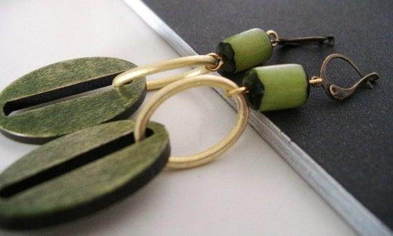 Green wood earrings