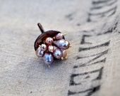 Caviar Ring - Pastel Pink Enamel with Pale Lavender Pearls