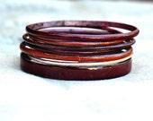 Handmade Bangle Set - 'Cuppa' Chocolate Coffee Tones - Enamel Bracelets