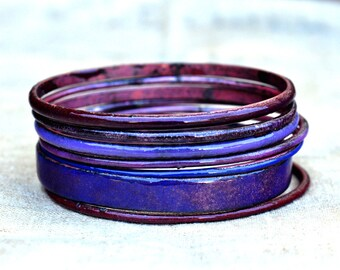 Handmade Bangle Set - 'Lush Plum' - Plum Toned Enamel Bracelets