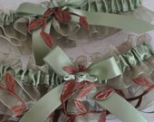 Sage Organza BrIde Garter Set with Autumn Leaves