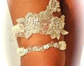 Garters, Wedding Garter Set as Open Heart in Beaded  Regal Lace, Weddings, Wedding Garters,