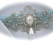 Bride Garter in Something Blue Sensually Narrow Lace with Exquisite Jeweled and Pearl Dangle
