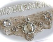 Garters,Garter,Wedding Garter Set in Champagne Garter with  Jeweled Centering