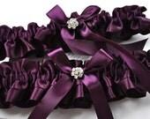 Wedding Garters (Handmade in the USA) with Rhinestone Flower Centerings in Custom Satin Colors