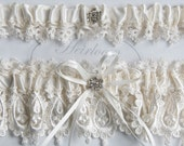 Wedding Garter Set,  Lingerie, Garters, Bridal Garters, Weddings Garter in Ivory  Heirloom Venice Wedding Lace
