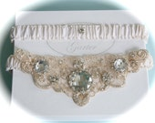 Ivory Bride garter with Champagne and Crystals and Platinum Embroidery