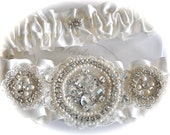 Bride Garter Set in Satin Trimmed with Jewels, Swarovski Crystals, Pearls, Embroidered Beaded Edge