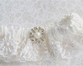 Wedding Garter in Imported Bridal Garter Pearled French Chantilly Bridal Lace with Rhinestones and Pearl Centering Trim