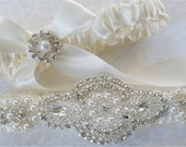 Wedding Garter, Garter Set, Pearl, and  Rhinestones Applique on Ivory Satin Bride Garter with Satin Tossing Garter