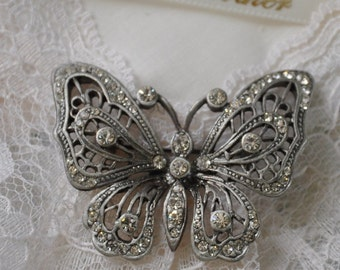 Heirloom Hanky for Grandmother with Butterfly Brooch