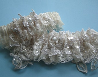 Ivory Wedding Garter Set in Beaded Embroidered with Something Blue