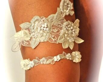 Garters, Wedding Garter Set as Open Heart in Beaded  Regal Lace