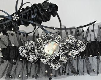 Bride Garter Set in Rhinestone Sprinkled Illusion with  Stunning Crystals and Rhinestone Platinum Embroidered Jewel Centering