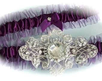 Bride Garter Set in Eggplant with Platinum Crystal and Embroidered Jeweled Center