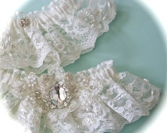 Bride Garter Set in Imported French Chantilly Lace with Austrian Swarovski Crystals Centered Embellishments