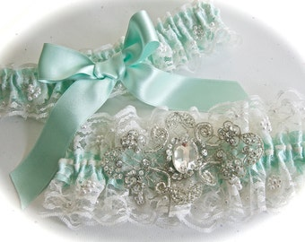 Wedding  Garter Set in Beaded Chantilly Bridal Garter Set Lace with Aqua Shadow Ribbon and Crystal Centering