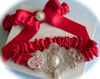 Red Wedding Garter Set, Red Garters, Red Bride Garters, Garters