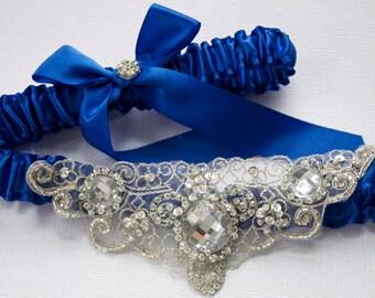 Wedding or Prom Garter Set with Beaded Jewel Centering, Weddings, Something Blue Garters, Bridal Garter, Custom Color Bridal Garter