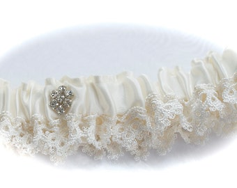 Venice and Satin  Bridal Garer with Rhinestone Centering