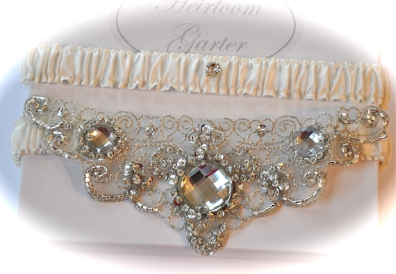 Wedding Garter Set Ivory Garter Set with Platinum Crystal Beaded Jewel Centering