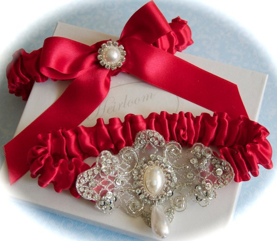 Red Wedding Garters