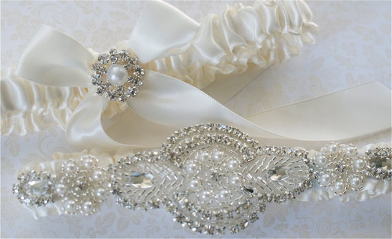 Wedding Garter, Garter Set, Pearl, and  Rhinestones Applique on Ivory Satin Bride Garter with Satin Tossing Garter