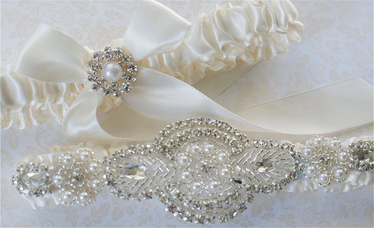 Wedding Garter, Garter Set, Pearl, And Rhinestones