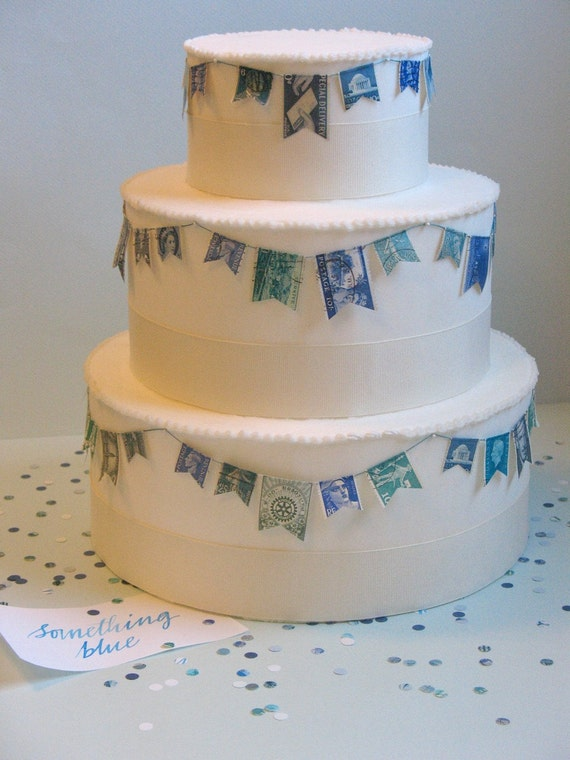 wedding cake stamp items similar to vintage stamp wedding cake garland blue 25599