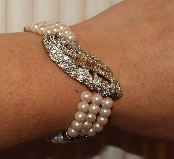 Vintage Pale Pink Pearl and Rhinestone Flapper Wedding Bracelet