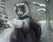 Winter Stroll- cat art - amberalexander