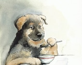 dog art, puppy, dog painting, dog watercolor, dog print. Kibble Every Day.... dog art, watercolor, pet