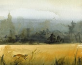 "landscape painting, gold, ochre, grey, decor, watercolor, ""March Fox"" Archival Print"