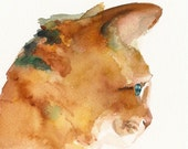 Oliver - Cat Art - archival print of watercolor