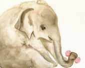 Elly- Archival print- baby elephant, nursery, children, girl, art