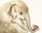 Baby Elephant art, elephant print, elephant painting . Elly- Archival print- baby elephant, nursery, children, girl, art